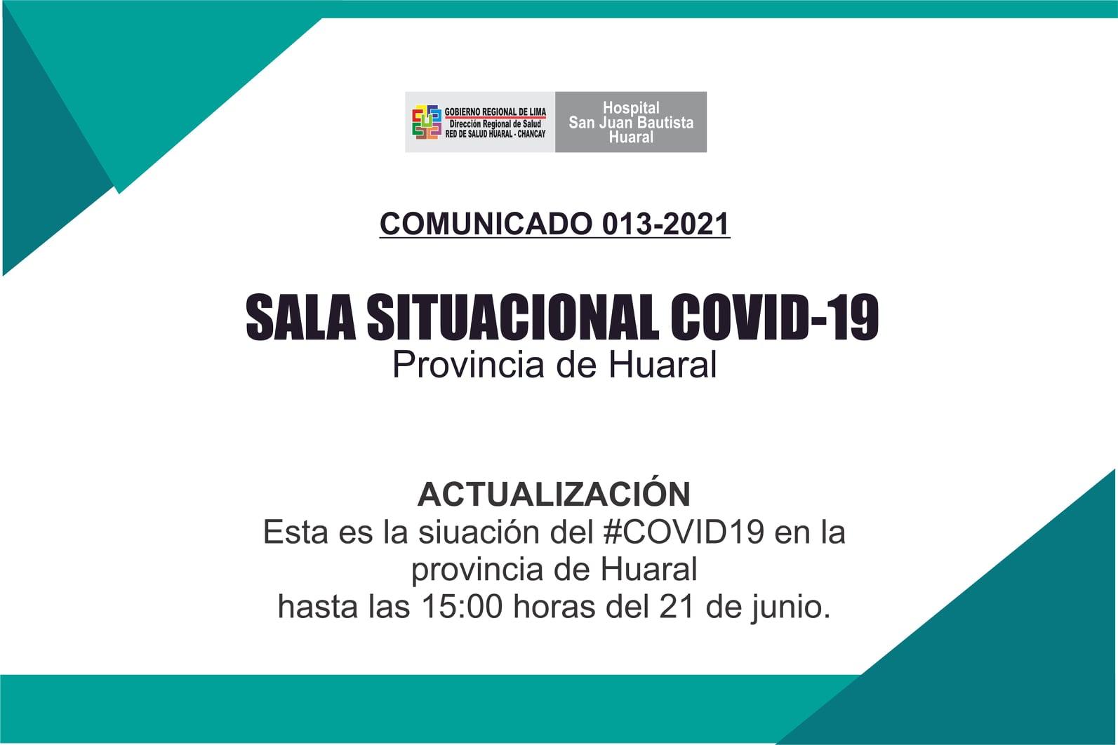 NOTA 048-ESTADO SITUACIONAL POR CORONAVIRUS COVID-19 EN LA PROVINCIA DE HUARAL.